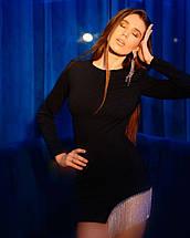 Ошатне жіноча міні сукня з камінням AniTi 598, чорний, фото 3