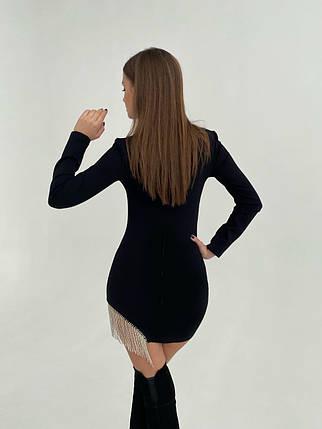 Ошатне жіноча міні сукня з камінням AniTi 598, чорний, фото 2