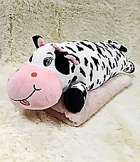 Плед - мягкая игрушка 3 в 1  Корова пятнистая (96)