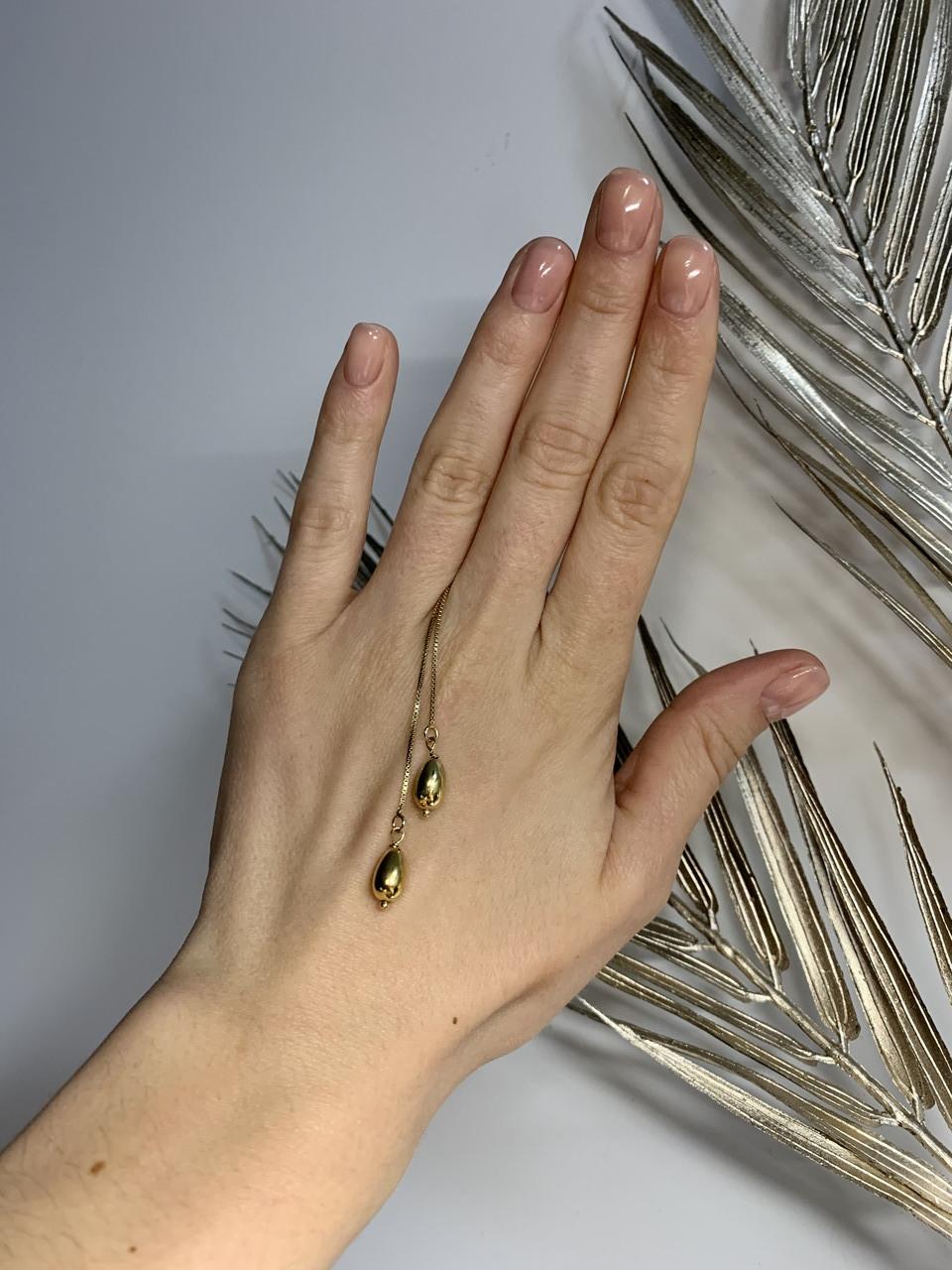 Серебряные серьги-протяжки (продевки) в позолоте