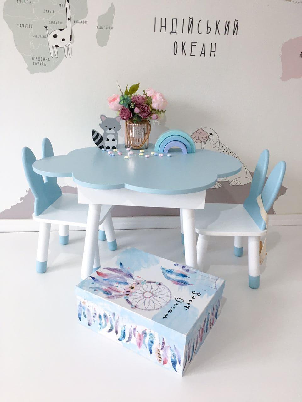 Детский стол облако с пеналом и 2 стула зайки