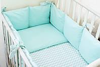 Бортики в детскую кроватку Хлопковые Традиции 180х30 см 2 шт Мятный, КОД: 1639792