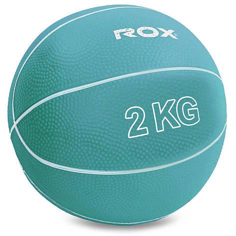 Мяч медицинский медбол Record Medicine Ball SC-8407-2 2кг (верх-резина, наполнитель-песок, d-13см,цвета в, фото 2