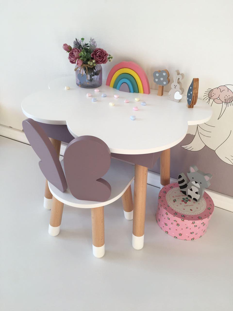 Стол полуоблако с пеналом и 1 стул бабочка