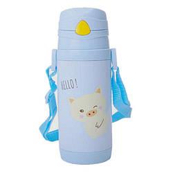Детский термос-поилка WENDO Hello c трубочкой 380 мл Голубой SUN1641, КОД: 181707