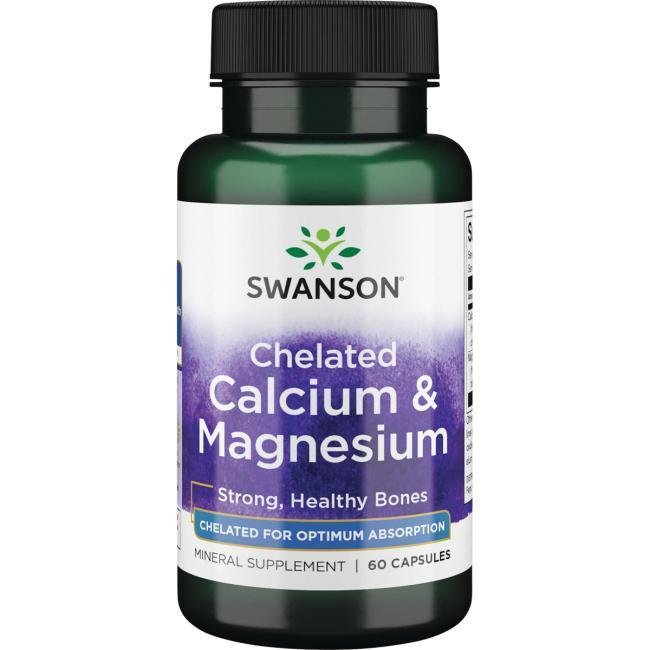 Кальций Магний Хелат Глицинат Chelated Calcium Magnesium Glycinate Swanson, 60 капсул