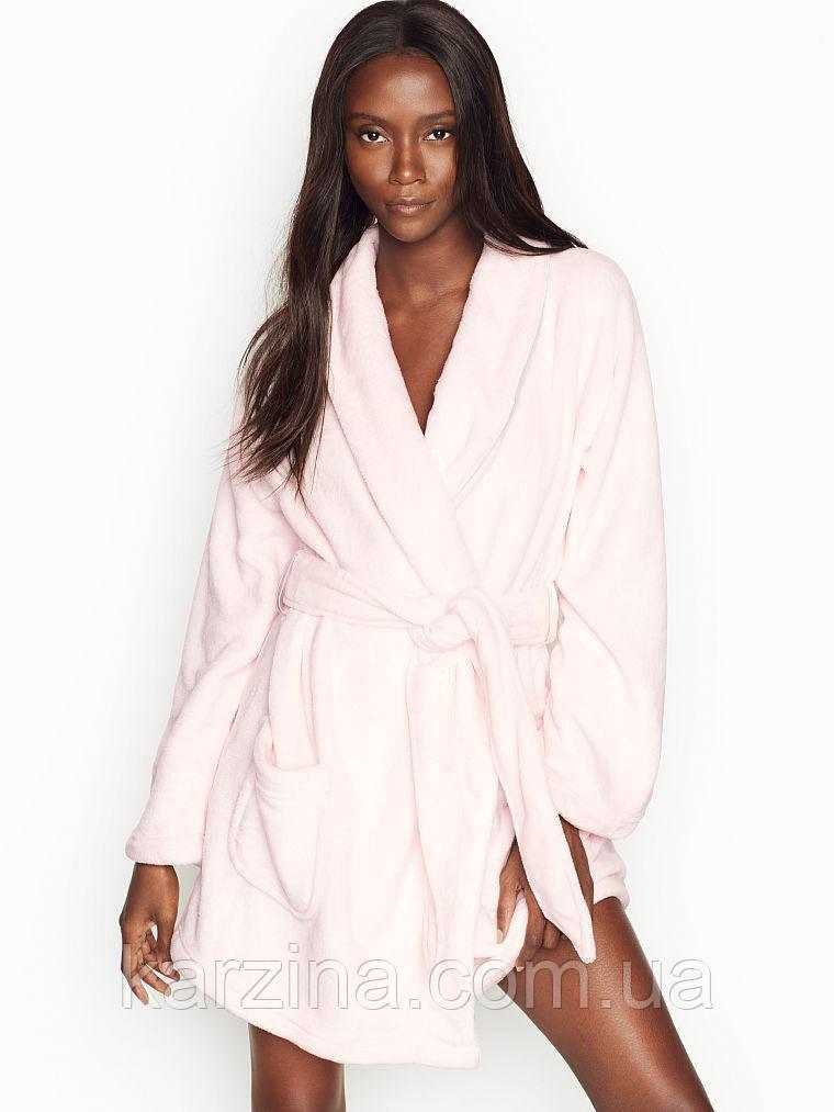 Короткий теплий халат Victoria's Secret Logo Short Cozy Robe р. XS-S