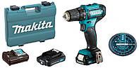 Аккумуляторный шуруповерт Makita DF333DWAE + 2 акб 12 V 2 Ah + з у + кейс + набор бит DF333DWAEX, КОД: 2367457