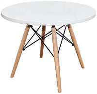 Кофейный журнальный столик Тауэр Вуд white, круглый, дерево бук