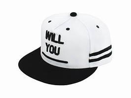 Бейсболка peaked cap WILL YOU YM Белый One sizе Черный 23264, КОД: 1402873