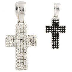 Срібний двосторонній хрестик з фіанітами Gold Soveren 0460987, КОД: 1869548