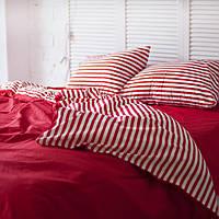 Комплект постельного белья Хлопковые Традиции Полуторный 155x215 Бело-красный PF054полуторный, КОД: 740745