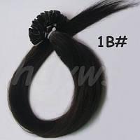 Волосы для наращивания на кератиновых капсулах, оттенок №1В. 60 см 100 капсул 80 грамм