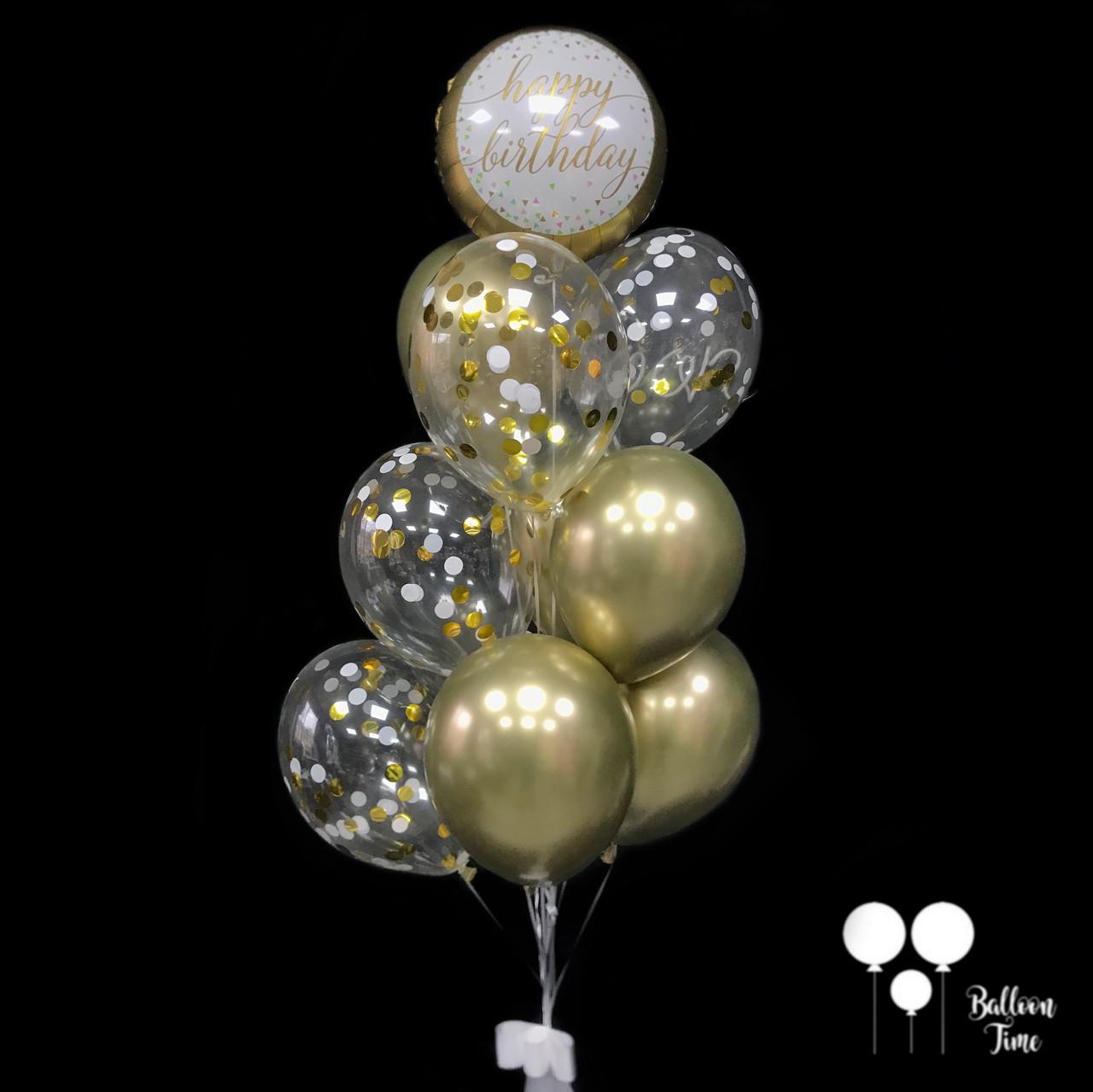 Фонтан шаров в золотых тонах на День Рождения