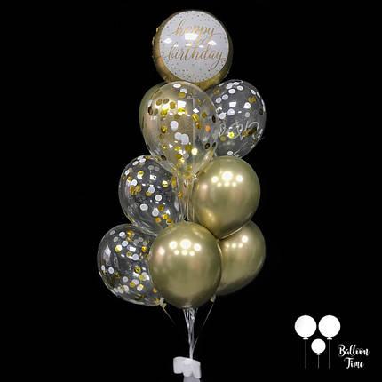Фонтан шаров в золотых тонах на День Рождения, фото 2
