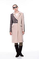 Женское пальто ORIGA Тара 44 Бежево-коричневый клетка 02Tara-кем+кл+тм-шок44, КОД: 2378048