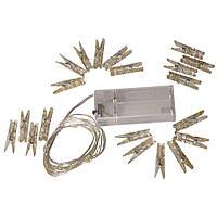 Гирлянда Xmas 7282 20 LED WW c зажимами и коробочкой для батарей, желтый свет, фото 1