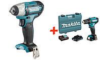 Аккумуляторный гайковерт Makita TW141DZ + акк шуруповерт DF333DWAE + 2 акб 12 V 2 Ah + з у + кейс, КОД:
