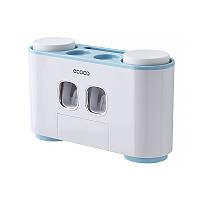 Диспенсер механический для зубной пасты держатель зубных щеток ECOCO E1802 Blue 5575-18789, КОД: 2406846
