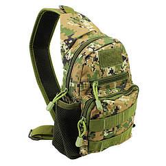 Рюкзак тактический на одно плечо AOKALI Outdoor A14 2L Camouflage Green 5368-16909, КОД: 2451294