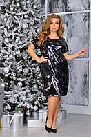 Нарядное вечернее женское платье с пайетками большой размер, фото 1