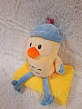 Плед - мягкая игрушка 3 в 1  Цыпленок в голубом (104)