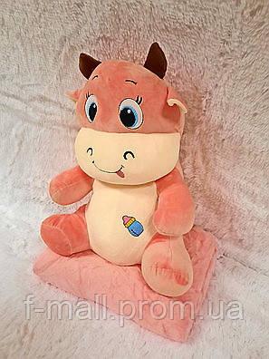 Плед - мягкая игрушка 3 в 1  Корова розовая  (106)