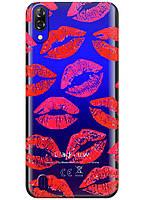 Прозрачный силиконовый чехол iSwag для Blackview A60 с рисунком - Поцелуи H579, КОД: 1429043
