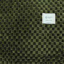 Плед тонкий зеленый однотонный в клетку 180x200см микрофибра, покрывало двуспальное