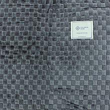 Плед в клетку серый тонкий однотонный 180x200см микрофибра, покрывало искусственные