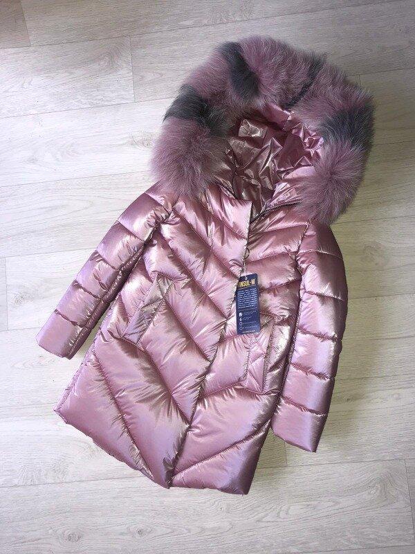 Шикарное зимнее пальто для девочки Бархат с натуральным мехом, новинка