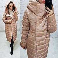 Тёплая женская зимняя куртка длинная с глубоким капюшоном на молнии и кнопках большие размеры, 5 цветов. Коричневый