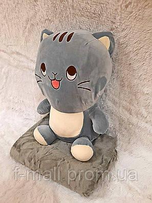 Плед - мягкая игрушка 3 в 1  Котик серый (107)