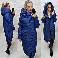 Тёплая женская зимняя куртка длинная с глубоким капюшоном на молнии и кнопках большие размеры, 5 цветов. Тёмно-синий