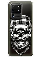 Прозрачный силиконовый чехол iSwag для Samsung Galaxy S20 Ultra Бородатый череп M1182, КОД: 1604865