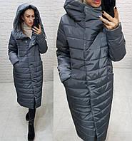 Тёплая женская зимняя куртка длинная с глубоким капюшоном на молнии и кнопках большие размеры, 5 цветов. Графит