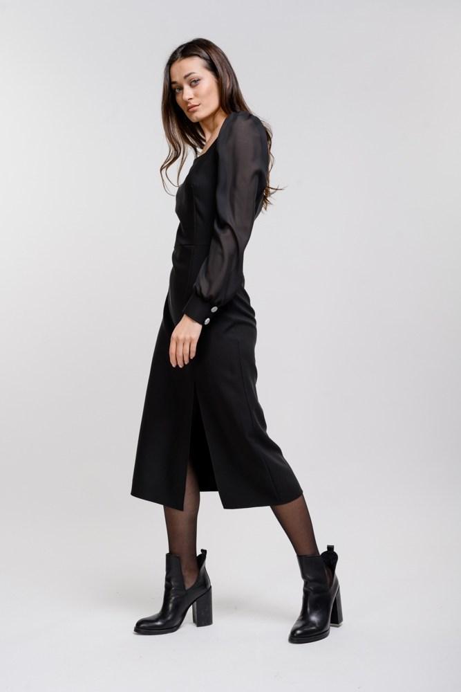 Женское черное платье миди