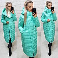 Тёплая женская зимняя куртка длинная с глубоким капюшоном на молнии и кнопках большие размеры, 5 цветов. Бирюзовый