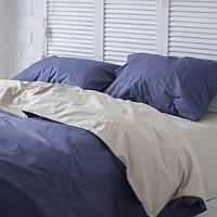Комплект постельного белья Хлопковые Традиции Евро 200x220 Бежевый с синим PF052евро, КОД: 353901