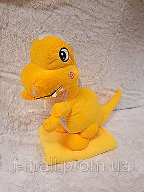 Плед мягкая игрушка 3 в 1  Динозаврик желтый (114)