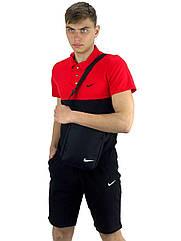 Комплект Футболка Polo+ Шорты+ Барсетка Nike Реплика XXL Красно-черный KomReebRed 1 5, КОД: 1660686