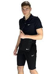 Комплект Футболка Polo+ Шорты+ Барсетка Nike Реплика S Черный KomNikeBlack1 1, КОД: 1676319