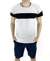 Комплект Футболка Intruder Color Stripe шорты Miami М Темно-синий с серым Kom 1589370633  2, КОД: 1720911