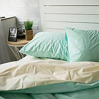 Комплект постельного белья Хлопковые Традиции Евро 200x220 Бежевый с мятным PF019евро, КОД: 740654