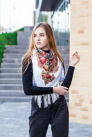 Платок женский красивый большой на голову с цветами и бахромой LEONORA белого цвета