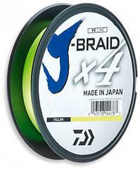 Шнур рыболовный Daiwa J-Braid X4E 0.13 мм - 135 м Yellow, КОД: 2418520