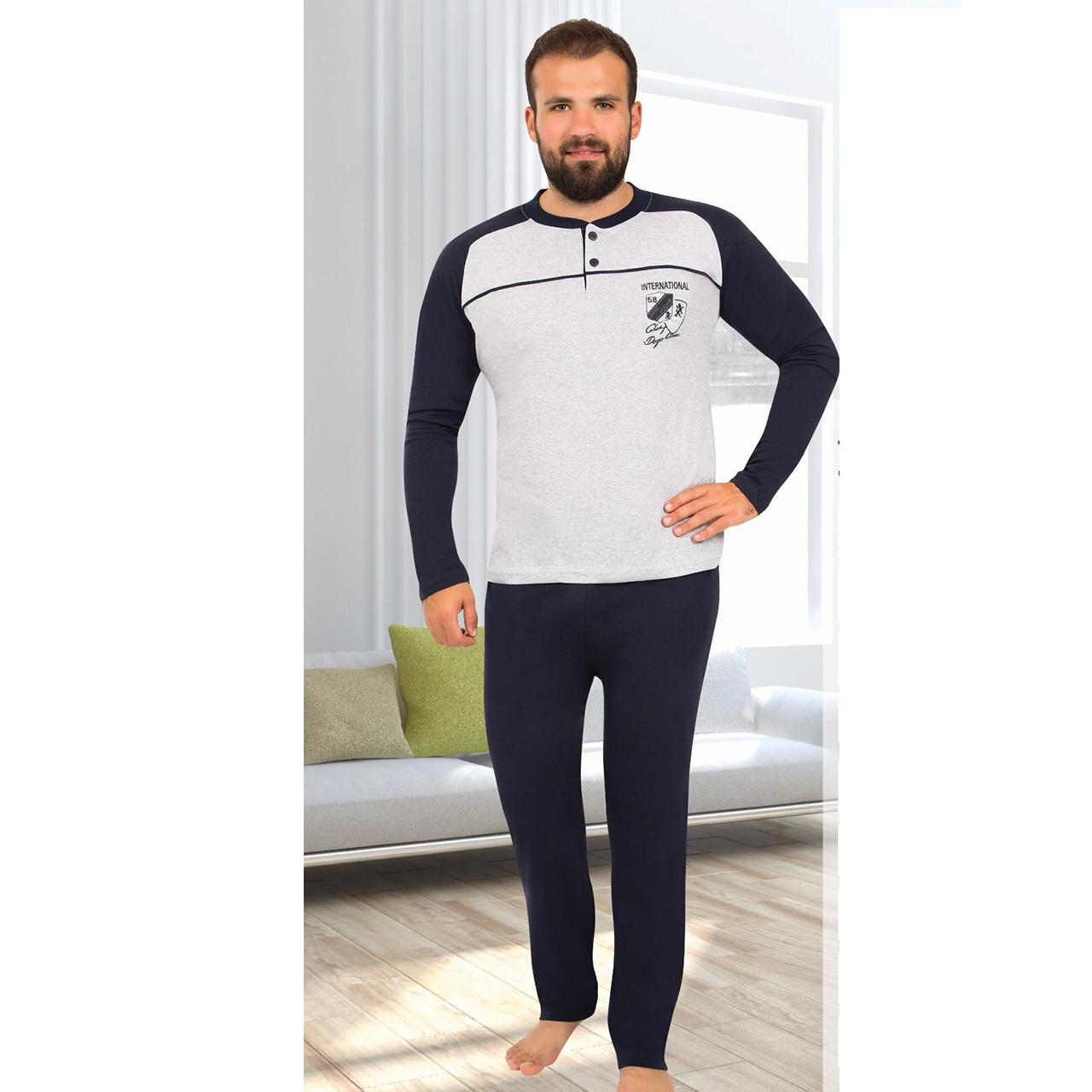 Пижама мужская трикотажная турецкая серая с брюками Rimoli M-2XL, костюм для дома