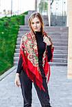 Косынка с народным орнаментом на флисе LEONORA красная 140*110*110  с бахромой, фото 2