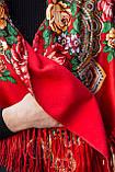 Косынка с народным орнаментом на флисе LEONORA красная 140*110*110  с бахромой, фото 6