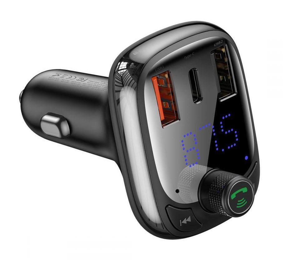 FM-трансмиттер Baseus T-typed S-13 Bluetooth 2USB / 1Type-C 36Вт Черный (CCTM-B01)